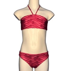 Zeemeermin bikini met donker roze schubben.