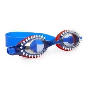 Stoere haaien zwembril! Blauwe zwembril met haaientanden.