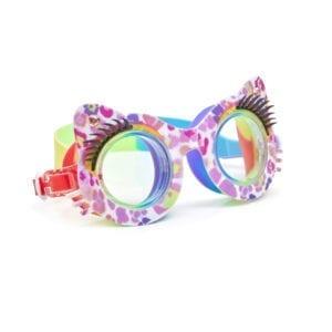 Zwembril in vorm van kattenogen. Met een roze panter print en afgewerkt met wimpers.