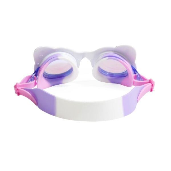 achterkant van kat-vormige zwembril. Deze heeft een wit-paarse band.