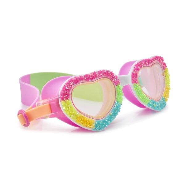 Hartjes montuur zwembril. Met snoepjes op het montuur. Heeft verschillende kleuren op de zwembril. Roos, geel, blauw en groen.