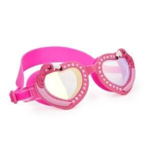 Donker roze zwembril. Hartjes montuur afgewerkt met diamanten en flamingo's.