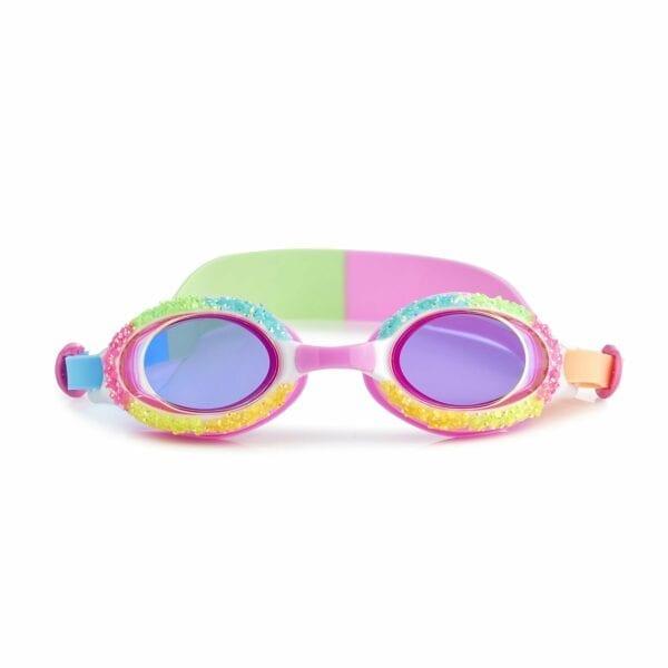 Deze zwembril is alsof ze gesuikerd is in de kleuren groen, roos, geel en blauw.