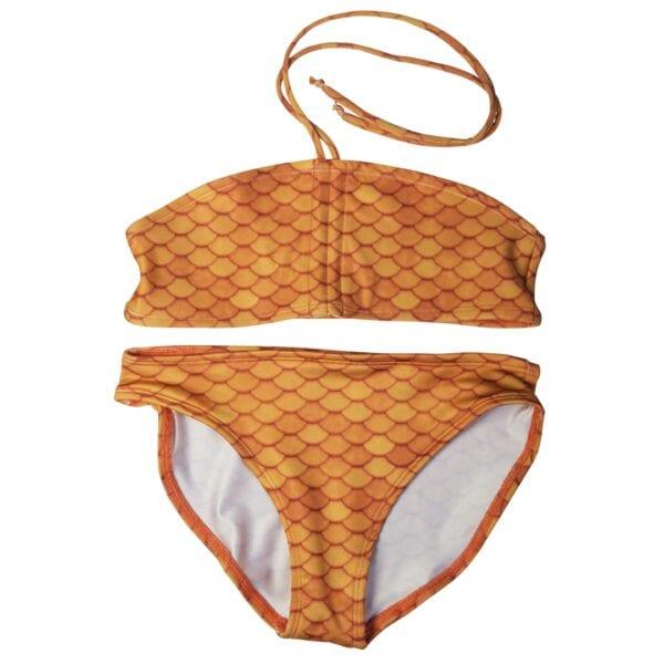 Donker gele zeemeermin bikini. De bikini heeft schubben zoals een echte zeemeermin.